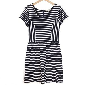 Loft Dress Size 10 Short Sleeve Fit & Flare Stripe